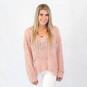 GLAM rose distressed sweater
